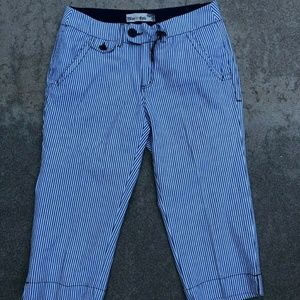 Blue Epic Crop Striped Capris Conductor Pants 12